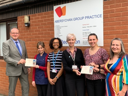 MND Cheque presentation from the Mick Morris Run by Abersychan Group Practice.